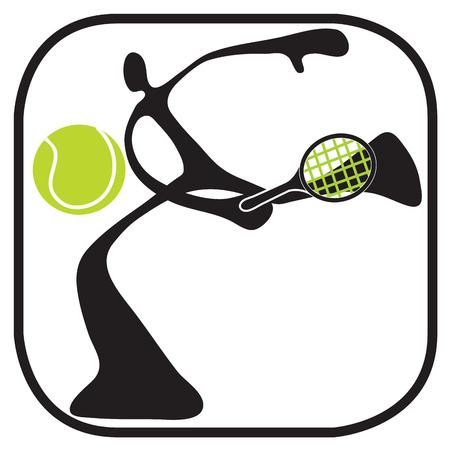 Shadow man playing tennis game in stadium cartoon and symbol design