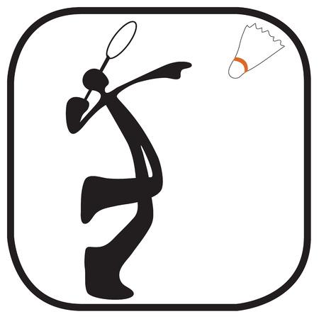 Shadow man playing badminton cartoon acting sport and symbol graphic design