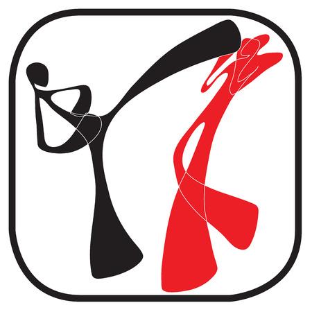 martial art: Shadow man Taekwondo martial art carton acting symbol graphic design Illustration