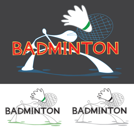 it is full: Badminton Sport Game Logo, sign, symbol cartoon shadow Man graphic Design word i made it free form in computer. Small logo are full color, two color and one color