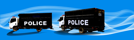 outlaws: Police truck two view on graphic blue background Stock Photo