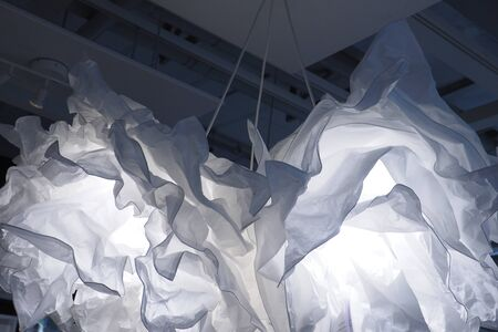 dazzlingly: Background paper lamp disastrously hanging white and blue photo to soft blur Stock Photo