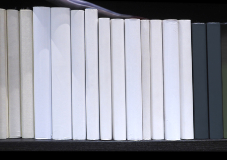 equivalent: Book spine no have word display on bookshelf in library at University, School, house