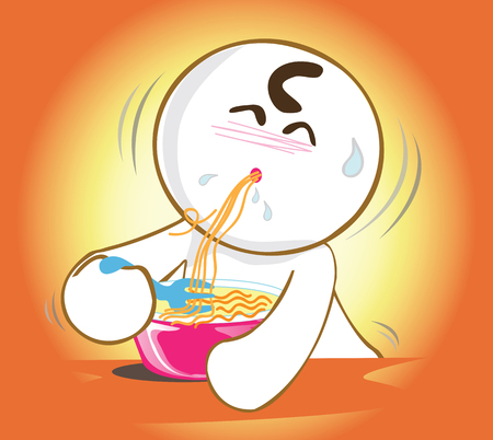 pantomime: Cartoon pantomime cute acting eating noodle very delicious and spicy