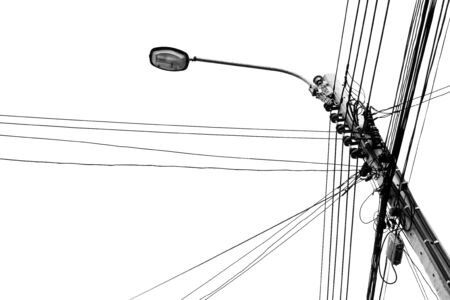electricity post: Street Lamp Electricity Post mono tone photo isolate white background