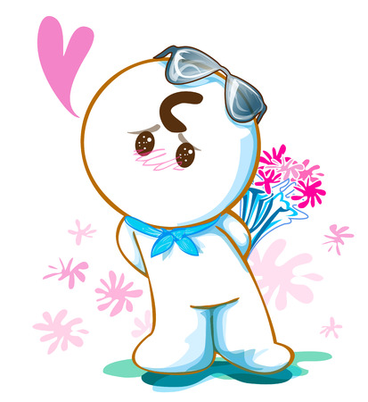 sun glasses: Cartoon cute acting design He to pleading and say Love me please and want to surprise give pink flower for sweet girl, he have sun glasses on his head and isolate white background