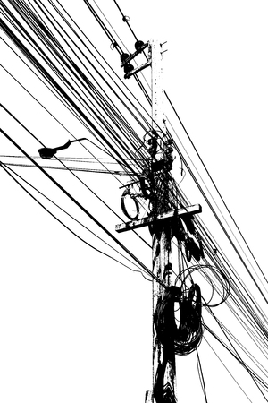 crossway: Electronic and cable line graphic art line black and white color background