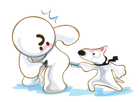 Dog in clinic, hospital to kidding his vet have fun. Pantomime cute cartoon acting white background on isolate.