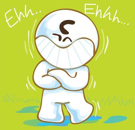 pantomima: Pantomima de dibujos animados lindo risa o re�r dise�o divertido que act�a sobre el fondo de color verde tienen mi palabra a mano alzada