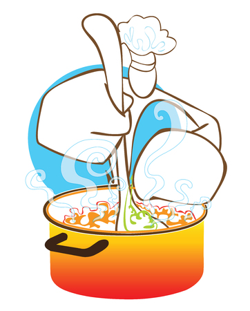 staunch: Man cooking soup he use ladle in hot pot symbol on white background isolate