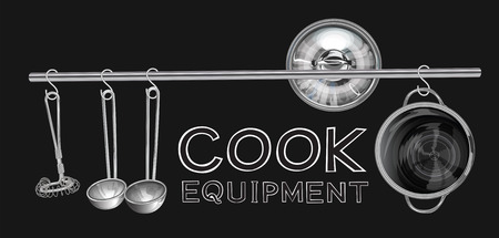 Cook Equipment on stainless still line with S shape hanging have egg whisk, dipper or scoop, lid and  Pot graphic illustration isolate background and mine word you can use.