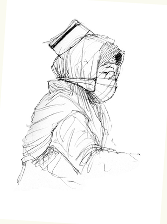 scan paper: Muslim Nurses Sketch sketch on paper and scan high resolution Stock Photo
