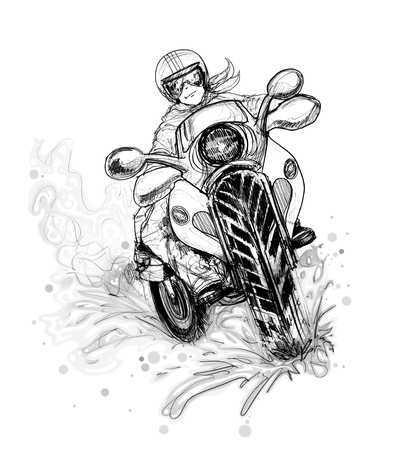 immensely: Big Bike Riding on the Road Curve cartoon pencil sketch free hand black and white color isolated background. Stock Photo