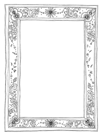 original idea: Frame natural Thai art line pencil sketch by hand my idea is no have original reference. Black and white color Stock Photo