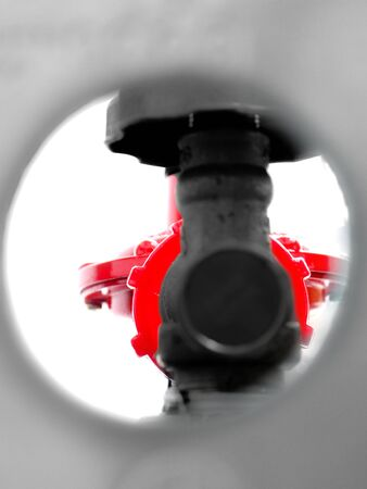 safty: regulator gas  and Valves in hole of Gas tank around are gray scale color.