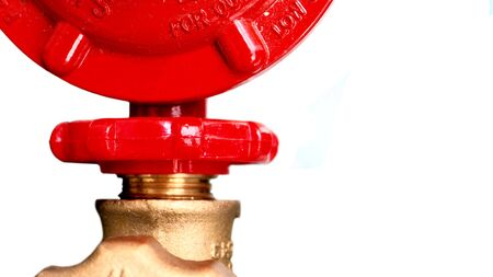 Gas valves red color and regulator gas on white background isolate