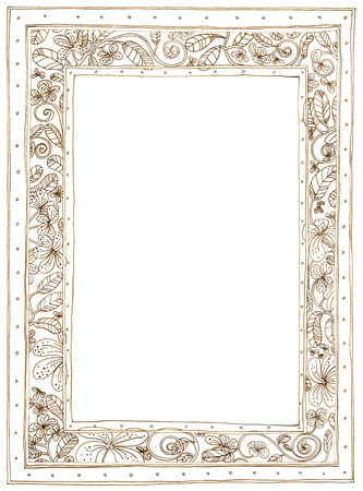 applied: Picture Frame Plumeria Applied Arts pattern pencil sketch design brown color.