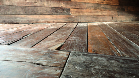 alternate: Floor and Wall and floor perspective antique Red Balau wood alternate, oblique littlebit blur photo.