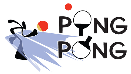 Table Tennis or sport games and symbol Shadow man cartoon design