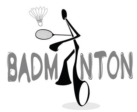 Badminton Shadow Man Cartoon sport acting symbol mono tone color design