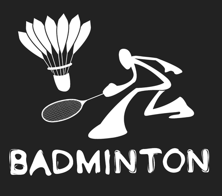 Badminton Shadow Man Cartoon sport acting symbol white on gray color design