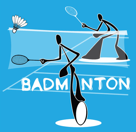 individual sport: Badminton Shadow Man Cartoon sport acting symbol  individual Sport Games design