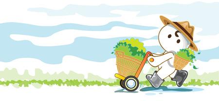 Gardeners cart store produce crops vegetable, fruit or tea cartoon pantomime cute acting graphic design