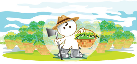 pantomime: Farmers  showing harvest crops Acquired are vegetable, fruit in a basket cartoon pantomime cute acting graphic design