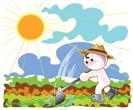 Farmers using hoes to planting vegetables  in afternoon cartoon cute acting design Illustration