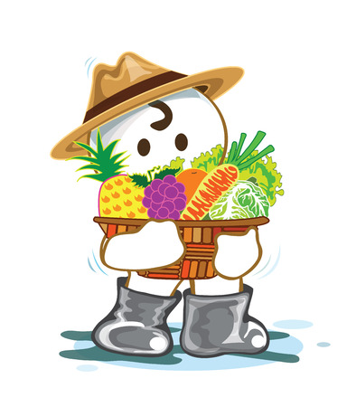 vegetable basket: Planter with fruit and vegetable in basket have pineapple, grapes, oranges, carrots, lettuce, cabbage, Cartoon cute acting design isolate on white background Illustration
