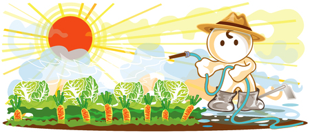 rubber tube: Gardeners use a rubber line tube to water the plants cartoon cute acting of working design and symbol
