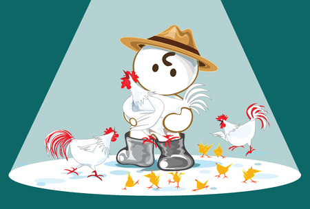 be happy: Be Happy The Chicken Farm Show Times cartoon cute acting design farm concept.