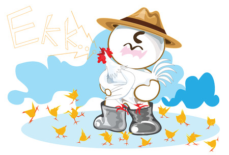 Owner Chicken Farm Industry cartoon cute acting design farm concept.