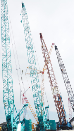 Largest Lifting Height Crawler Crane on sale many color. Stock Photo