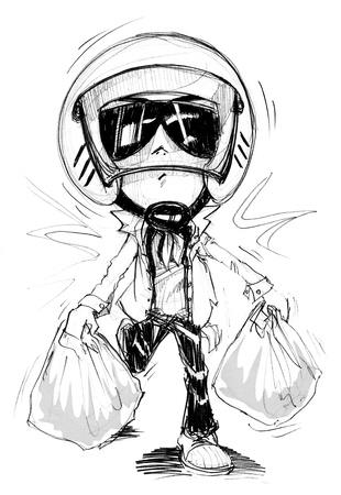 acting: Acting Character design Bike Man walking or running from shopping Plaza Cartoon pencil free hand sketch black and white color on paper have real paper texture and noise.