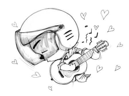acting: Playing Guitar love song Acting Character design Bike Man Cartoon pencil free hand sketch black and white color on paper have real paper texture and noise. Stock Photo