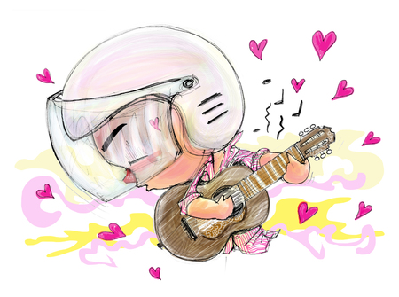 real people: Playing Guitar love song movement people he in love, entertaining Acting Character design Bike Man Cartoon pencil free hand sketch on paper have real paper texture and noise, Valentine card.