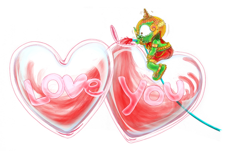 Siam Gumphant Thai Giant Cartoon Love fills the heart Thai Giant Green color character Design cute and funny Concept Lover in Valentines day isolate.