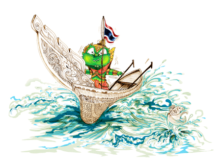 Siam Gumphant Thai Giant on Kolek (a Malayan canoe often rigged with a rectangular sail) South of Thailand Boat Cartoon Stock Photo