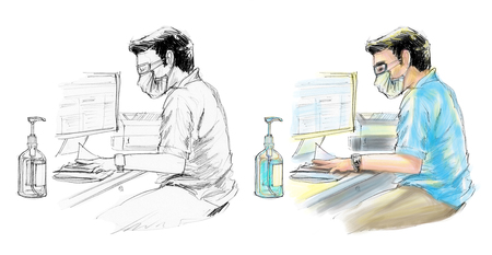 Doctor working to wearing a mask safty for check up the patient he questioning the patient is first step. In physical examination has computer clean wash bottle printer, paper on desk. Free hand sketch Stock Photo