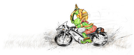 Thai Giant is biker he ridding Big Bike Cartoon illustration pencil sketch and graphic painting cute Design. Stock Photo