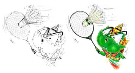 power giant: Thai Giant green color playing badminton. Cartoon illustration pencil sketch and graphic painting cute design.