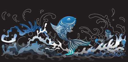 mono color: Fish jumping in the sea waves splash art abstract and graphic design for product pattern mono tone in blue color background dark gray.