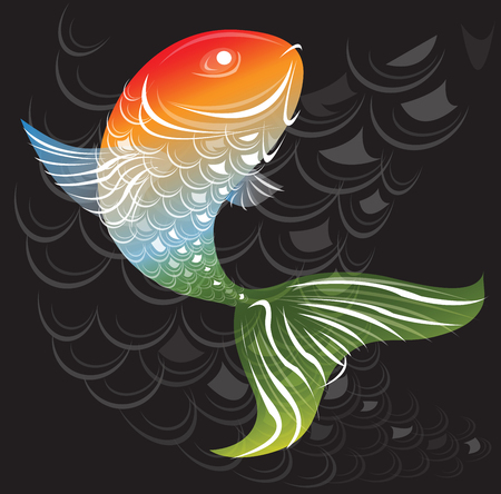 art product: Fish art abstract rainbow colors background is Fish scale curves shape in dark gray and graphic design for product pattern. Illustration