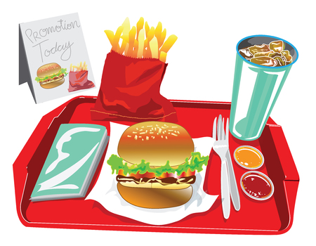 chili sauce: Big Burger Set have soft drink , egg salad, French fries, chili tomato sauce, tissue paper in red tray, Have promotion banner for your advertisement background isolate. Illustration