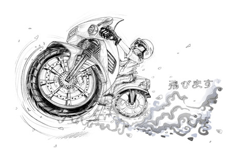 immensely: Man riding big bike on the road and jumping flying to turn right perspective view cartoon pencil sketch free hand black and white color isolated background.