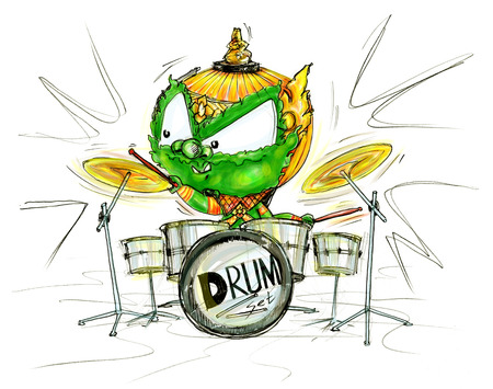 Thai Giant showing skill talent playing drum set show cartoon character Design cute and funny pencil freehand sketch and paint isolate background white color.