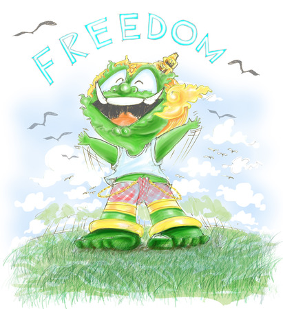 Thai Giant has Freedoom, He very happy at green field and bird, Character design and freehand pencil sketch color soft tone very sweet.
