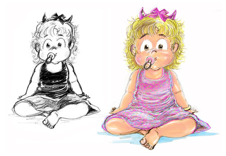 sit down: Pretty girl wear pink dress, Her face is little smile has tube feeding and acting is sit down crtoon hand draw pencil sketh and paint.