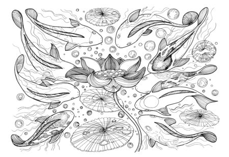 abundance: Nine Koi fish are different design and swimming around lotus flower center, Chinese a starred fish means abundance. Symbol of wealth, profits, gave a profit from the trade or business magic black color art line. Stock Photo